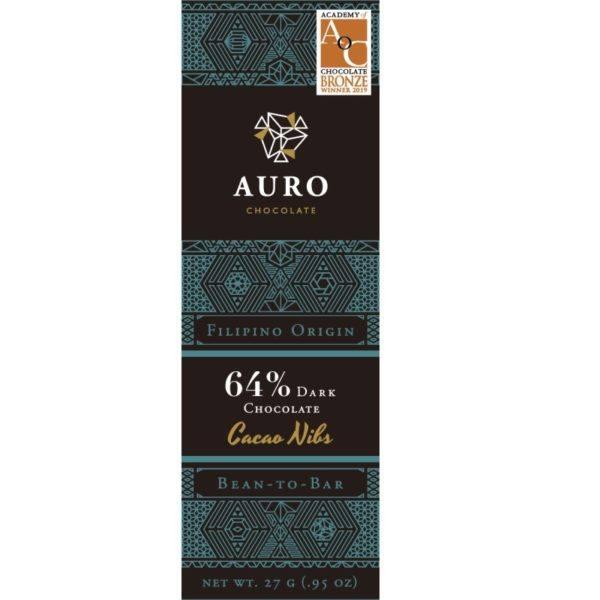 Auro Cacao nibs dark 64% 27 gr - front 800x800
