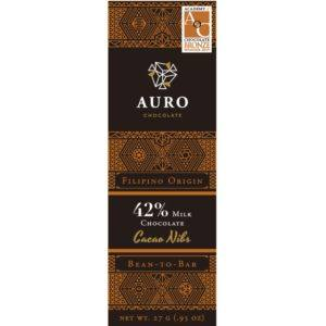 Auro Cacao nibs milk chocolate 42% 27 gr - front 800x800