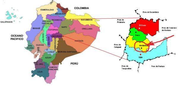 Kuná - mapa Ecuador Napo y Archidona