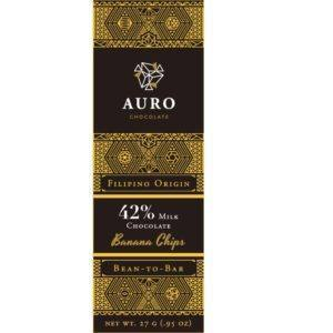 Auro Banana chips milk chocolate 42% 27 gr - front 800x800