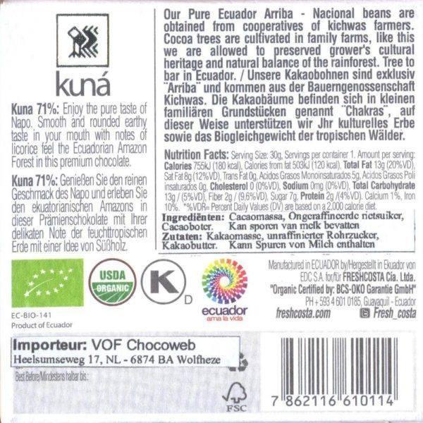 Kuná Napo 71 procent - back 800x800