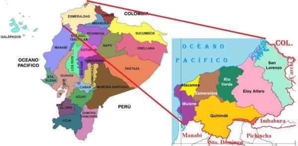 Kuná - mapa Ecuador Esmeraldas y Rio Verde