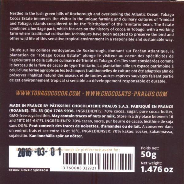 Tobago Estate Chocolate  50 gramachterkant 800x800